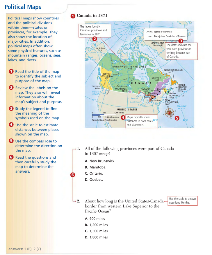 Political Map Of Ontario Canada.How To Read A Political Map My Social Studies Teacher
